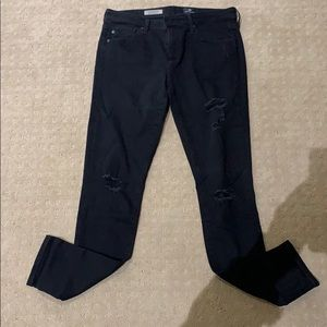 AG The Legging Ankle distressed black jeans. 28